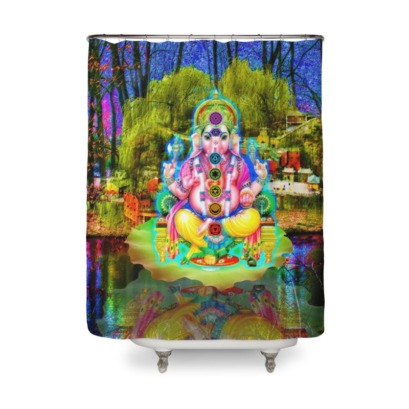 Lord Ganesha Meditating on a Lilly Pad with Willow Tree Home Shower Curtain by InspiredPsychedelics's Artist Shop