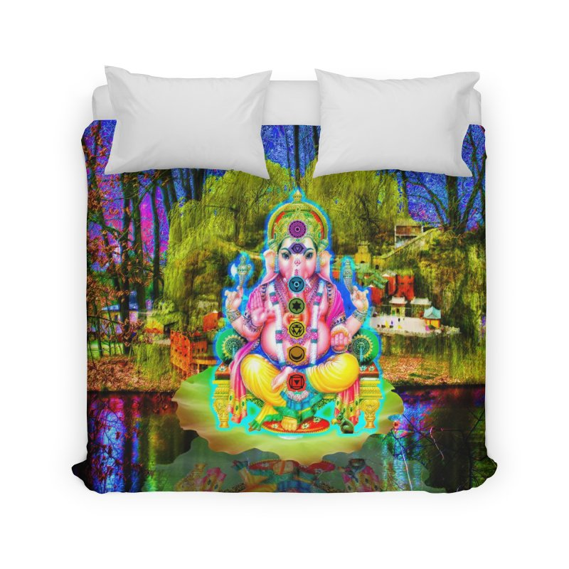 Lord Ganesha Meditating on a Lilly Pad with Willow Tree Home Duvet by InspiredPsychedelics's Artist Shop