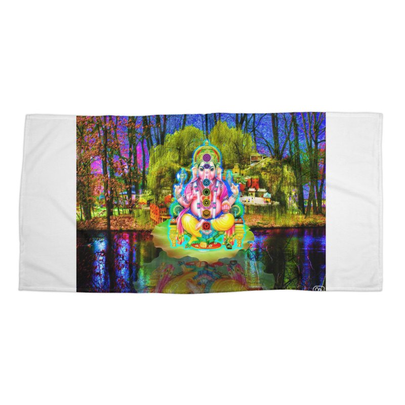 Lord Ganesha Meditating on a Lilly Pad with Willow Tree Accessories Beach Towel by InspiredPsychedelics's Artist Shop