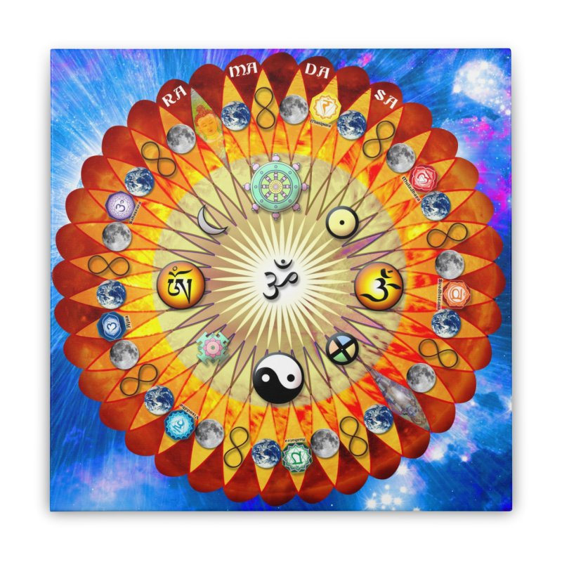 Ra Ma Da Sa Mandala Wall Art Home Stretched Canvas by InspiredPsychedelics's Artist Shop