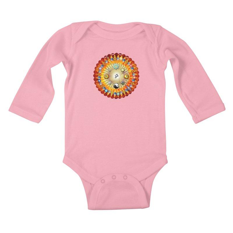 Ra Ma Da Sa Sa Say So Hung Mandala Kids Baby Longsleeve Bodysuit by InspiredPsychedelics's Artist Shop