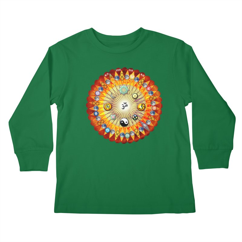 Ra Ma Da Sa Sa Say So Hung Mandala Kids Longsleeve T-Shirt by InspiredPsychedelics's Artist Shop