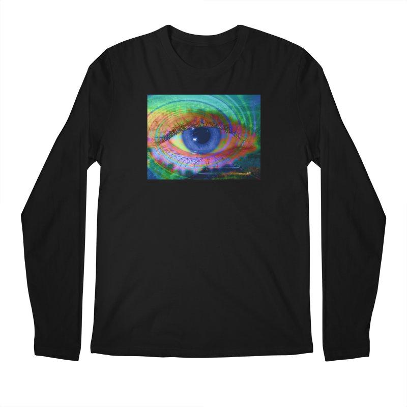 Blue Night Eye: Part of the Eye Series Men's Regular Longsleeve T-Shirt by InspiredPsychedelics's Artist Shop