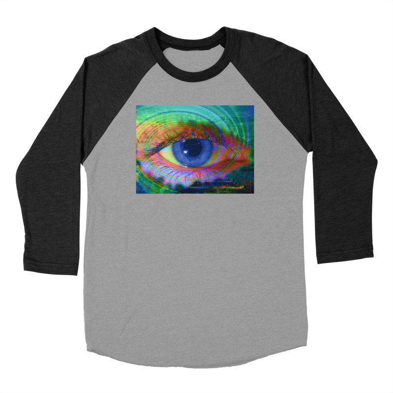 Blue Night Eye: Part of the Eye Series Men's Baseball Triblend Longsleeve T-Shirt by InspiredPsychedelics's Artist Shop