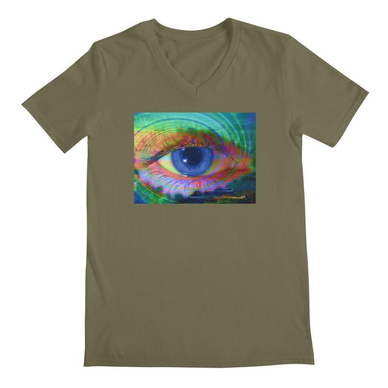 Blue Night Eye: Part of the Eye Series Men's Regular V-Neck by InspiredPsychedelics's Artist Shop
