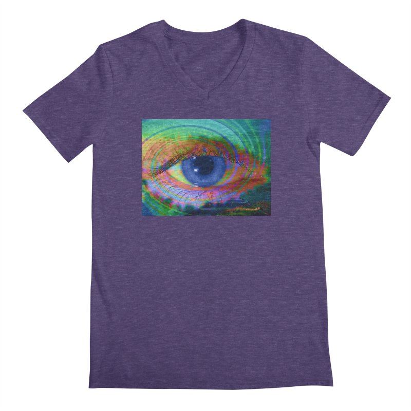 Blue Night Eye: Part of the Eye Series Men's Regular V-Neck by InspiredPsychedelics's Artist Shop