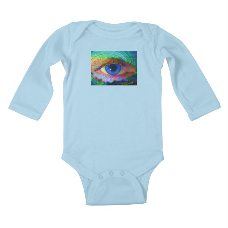 Blue Night Eye: Part of the Eye Series Kids Baby Longsleeve Bodysuit by InspiredPsychedelics's Artist Shop