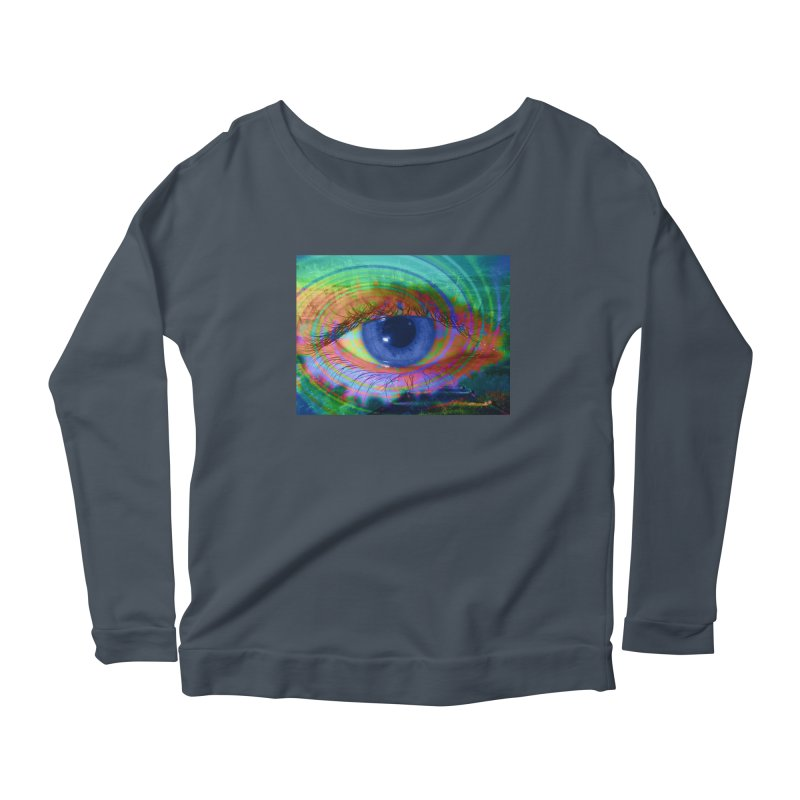 Blue Night Eye: Part of the Eye Series Women's Scoop Neck Longsleeve T-Shirt by InspiredPsychedelics's Artist Shop