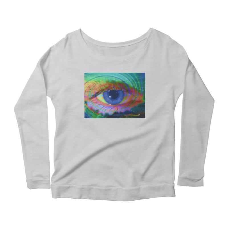 Blue Night Eye: Part of the Eye Series Women's Scoop Neck Longsleeve T-Shirt by InspiredPsychedelics's Artist Shop