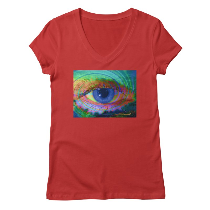 Blue Night Eye: Part of the Eye Series Women's Regular V-Neck by InspiredPsychedelics's Artist Shop