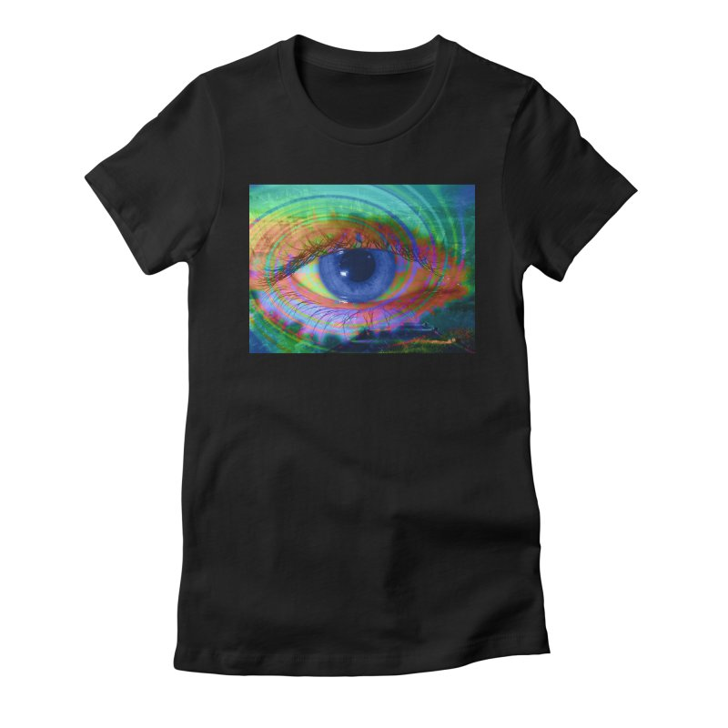Blue Night Eye: Part of the Eye Series Women's Fitted T-Shirt by InspiredPsychedelics's Artist Shop