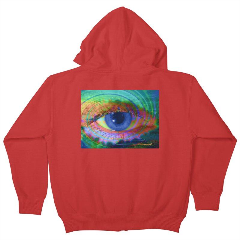 Blue Night Eye: Part of the Eye Series Kids Zip-Up Hoody by InspiredPsychedelics's Artist Shop