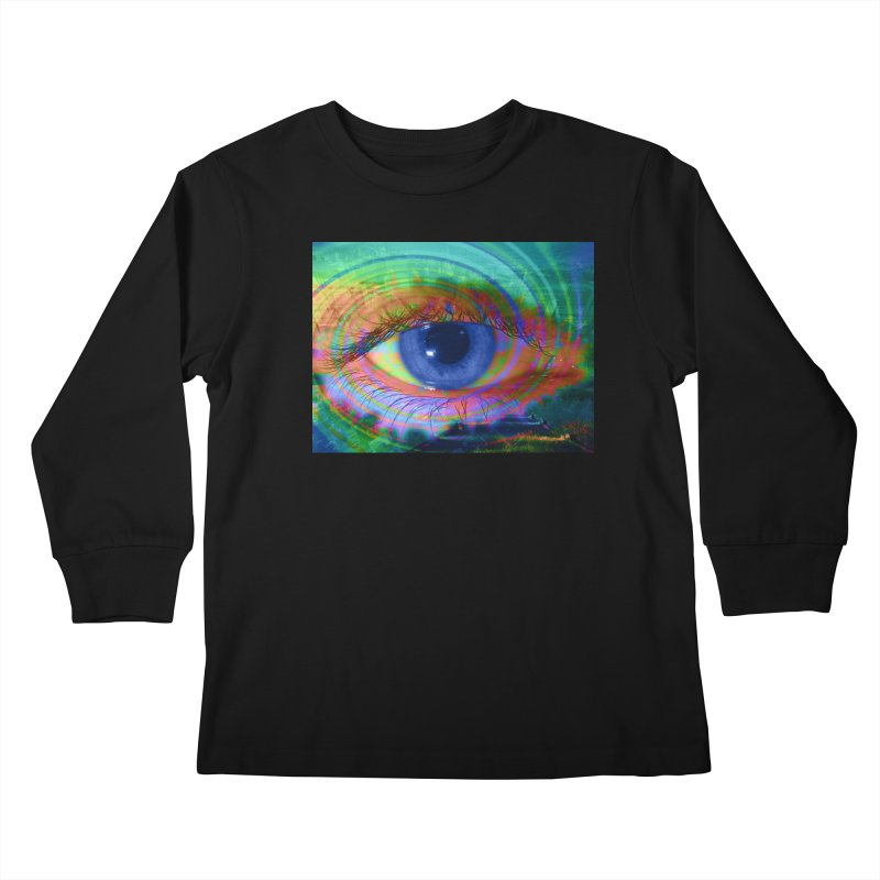 Blue Night Eye: Part of the Eye Series Kids Longsleeve T-Shirt by InspiredPsychedelics's Artist Shop