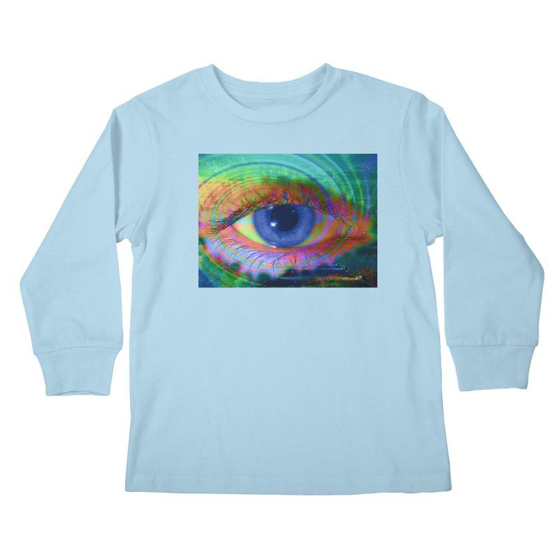 Blue Night Eye: Part of the Eye Series Kids Longsleeve T-Shirt by InspiredPsychedelics's Artist Shop
