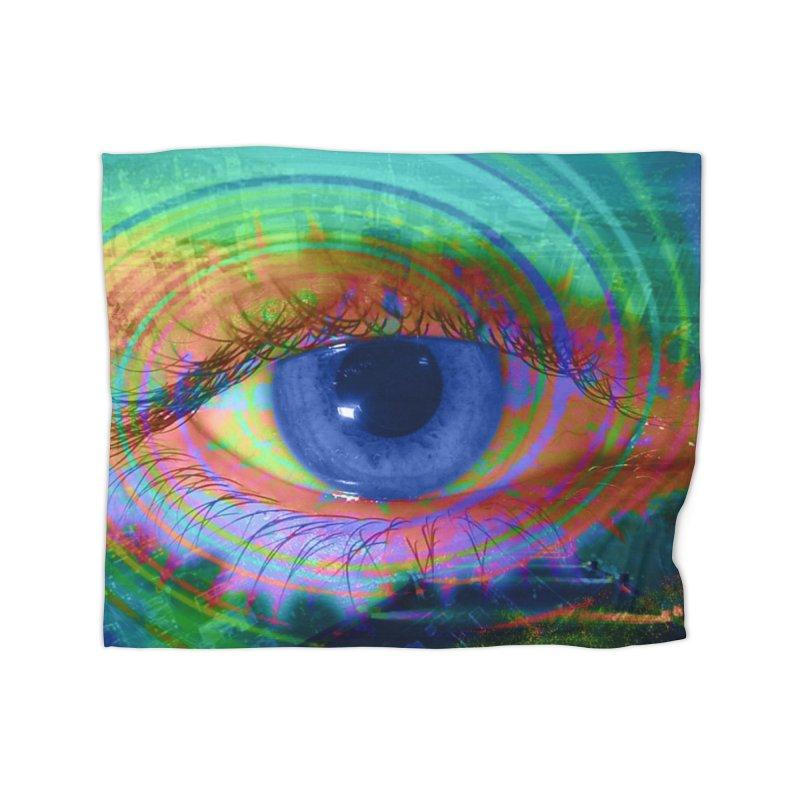 Blue Night Eye: Part of the Eye Series Home Fleece Blanket Blanket by InspiredPsychedelics's Artist Shop