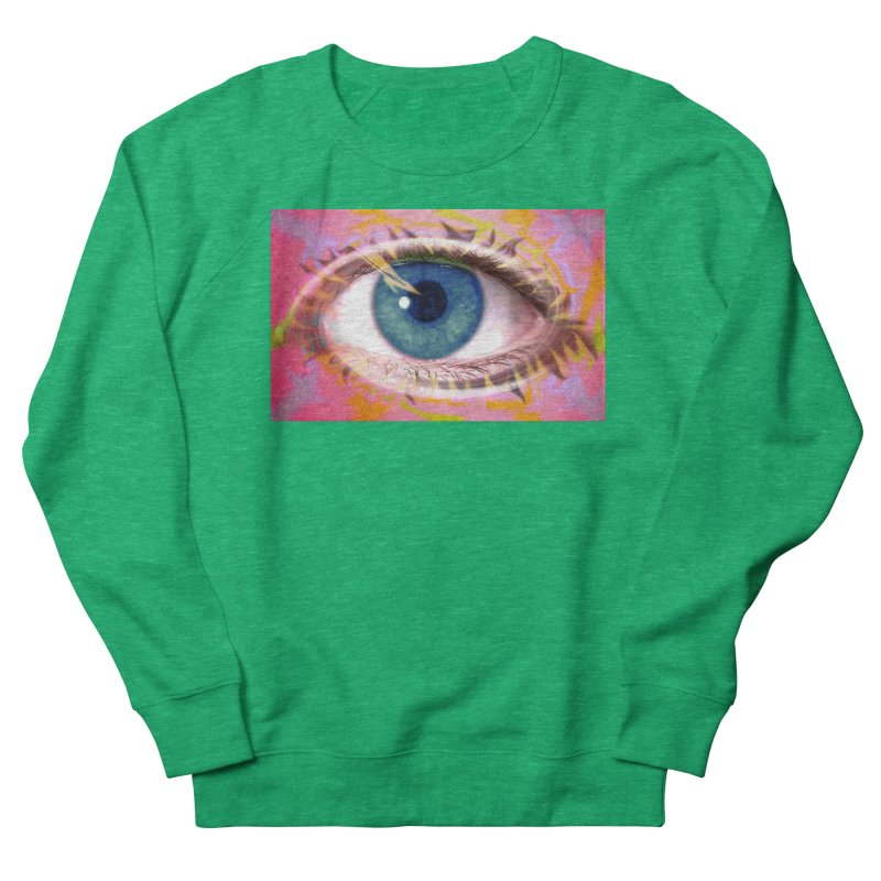 Feathery Eye: Part of the Eye Series Women's French Terry Sweatshirt by InspiredPsychedelics's Artist Shop