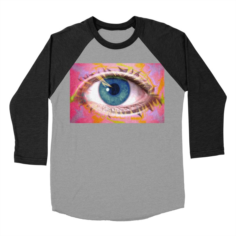 Feathery Eye: Part of the Eye Series Men's Baseball Triblend Longsleeve T-Shirt by InspiredPsychedelics's Artist Shop