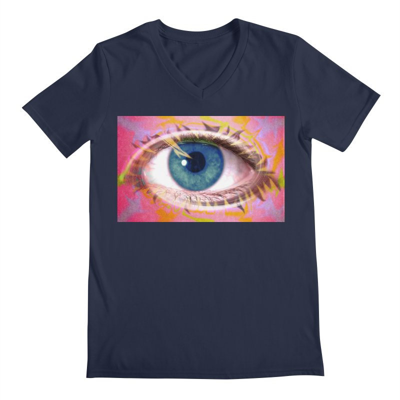 Feathery Eye: Part of the Eye Series Men's Regular V-Neck by InspiredPsychedelics's Artist Shop