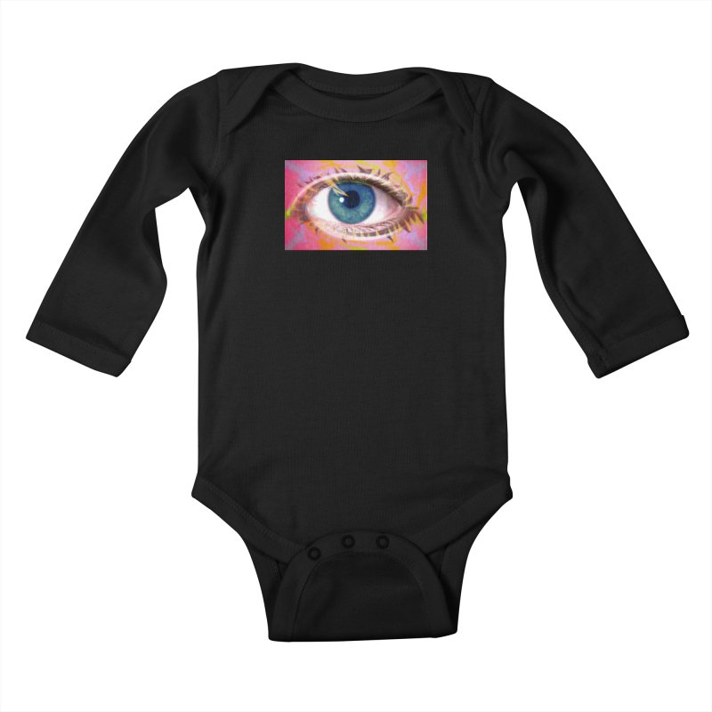 Feathery Eye: Part of the Eye Series Kids Baby Longsleeve Bodysuit by InspiredPsychedelics's Artist Shop