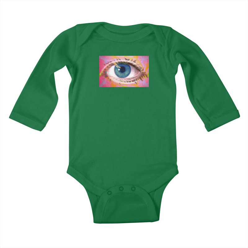 Feathery Eye: Part of the Eye Series Kids Baby Longsleeve Bodysuit by InspiredPsychedelics's Artist Shop