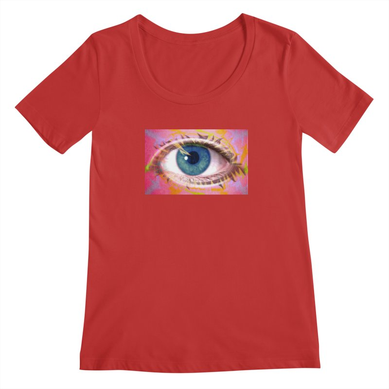 Feathery Eye: Part of the Eye Series Women's Scoopneck by InspiredPsychedelics's Artist Shop
