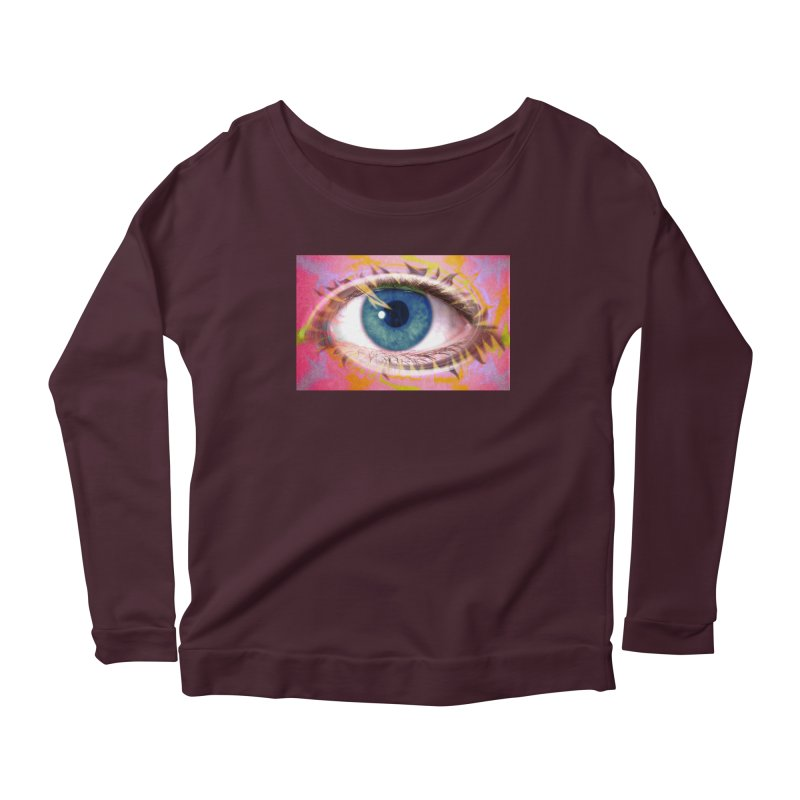 Feathery Eye: Part of the Eye Series Women's Scoop Neck Longsleeve T-Shirt by InspiredPsychedelics's Artist Shop