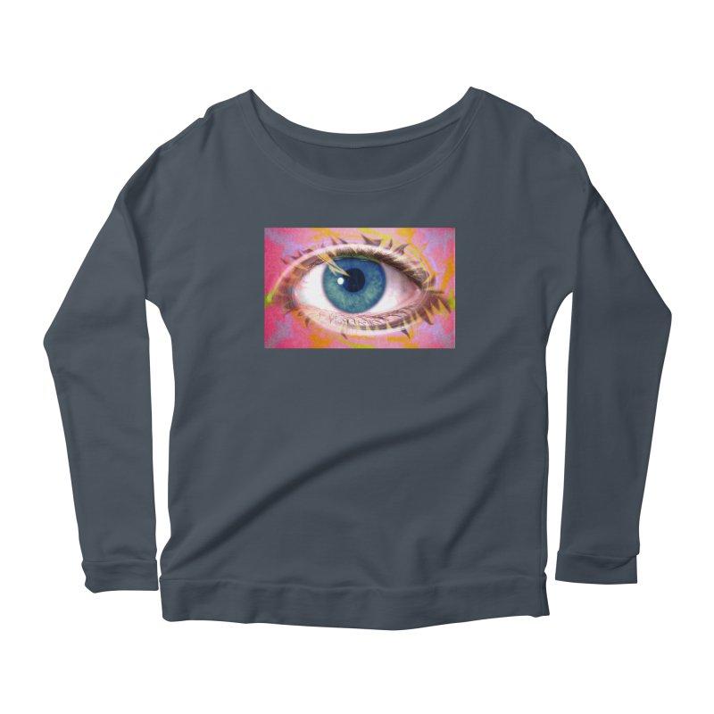 Feathery Eye: Part of the Eye Series Women's Longsleeve Scoopneck  by InspiredPsychedelics's Artist Shop