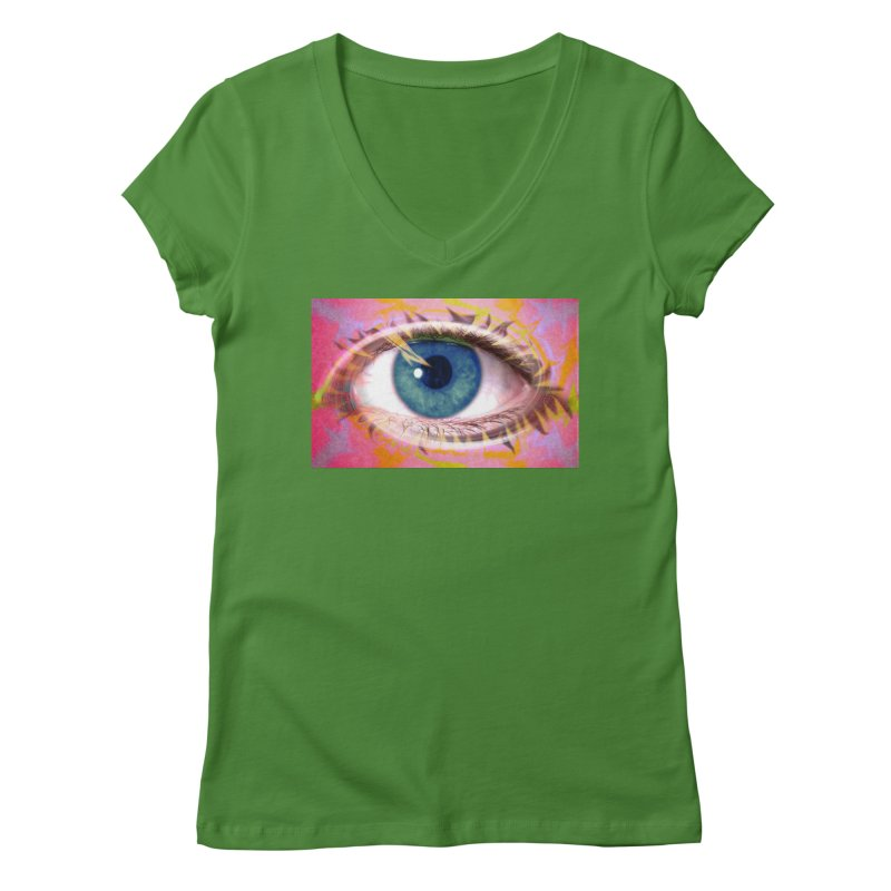 Feathery Eye: Part of the Eye Series Women's V-Neck by InspiredPsychedelics's Artist Shop