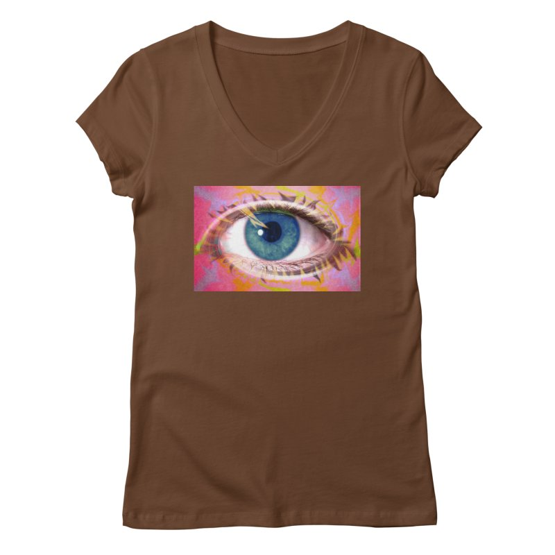 Feathery Eye: Part of the Eye Series Women's Regular V-Neck by InspiredPsychedelics's Artist Shop