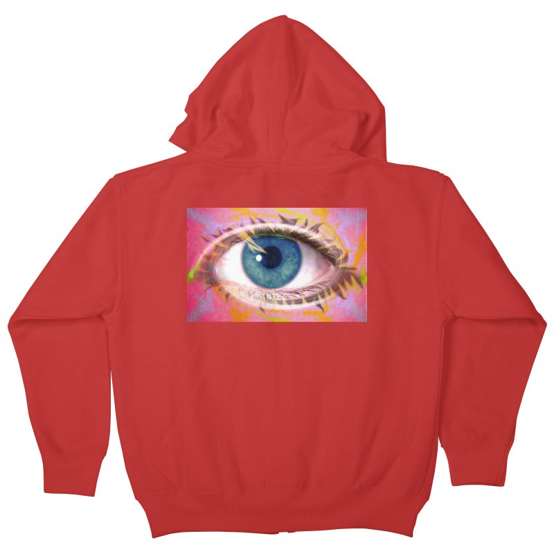 Feathery Eye: Part of the Eye Series Kids Zip-Up Hoody by InspiredPsychedelics's Artist Shop