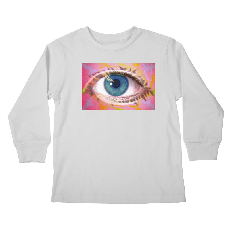 Feathery Eye: Part of the Eye Series Kids Longsleeve T-Shirt by InspiredPsychedelics's Artist Shop