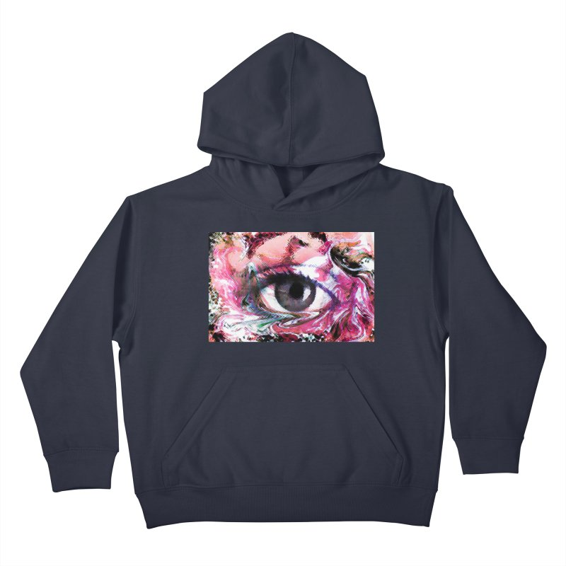 Eye Fancy Pink: Part of the Eye Series Kids Pullover Hoody by InspiredPsychedelics's Artist Shop