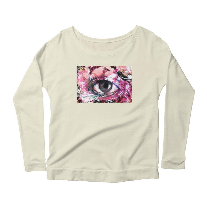 Eye Fancy Pink: Part of the Eye Series Women's Longsleeve Scoopneck  by InspiredPsychedelics's Artist Shop