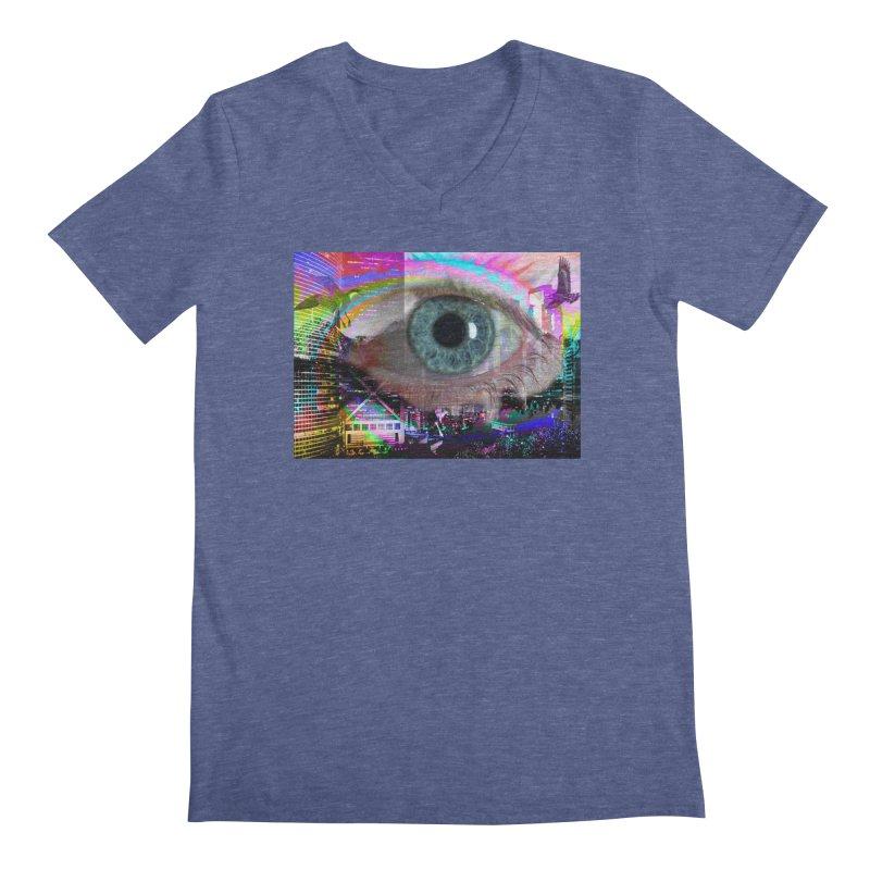 Eye on the City: Part of the Eye Series Men's Regular V-Neck by InspiredPsychedelics's Artist Shop
