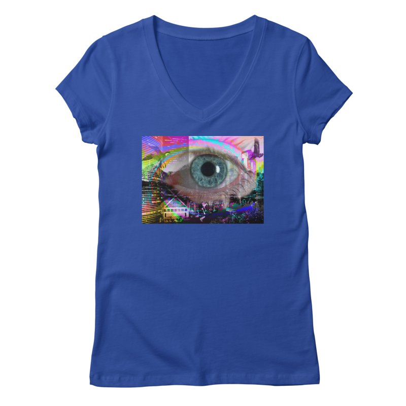 Eye on the City: Part of the Eye Series Women's V-Neck by InspiredPsychedelics's Artist Shop