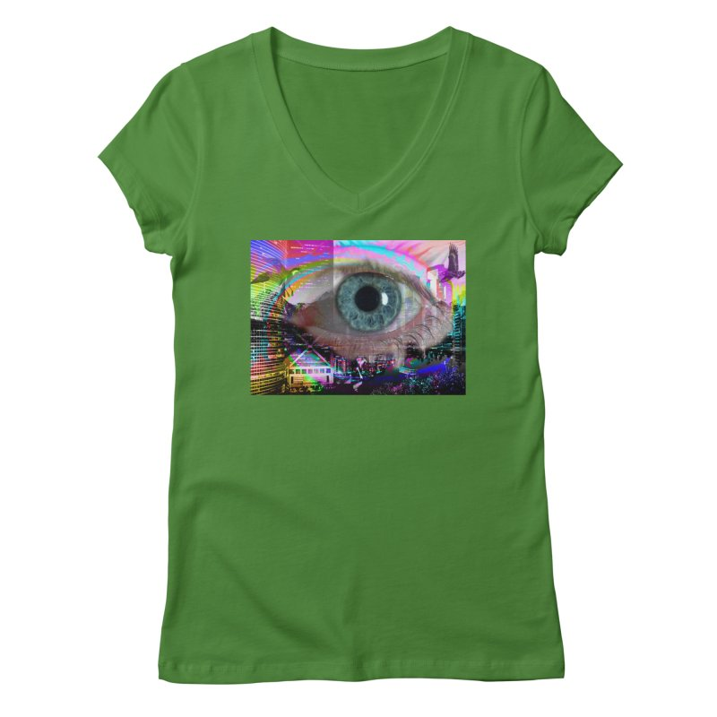 Eye on the City: Part of the Eye Series Women's Regular V-Neck by InspiredPsychedelics's Artist Shop