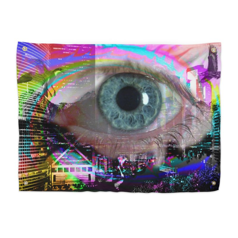 Eye on the City: Part of the Eye Series Home Tapestry by InspiredPsychedelics's Artist Shop