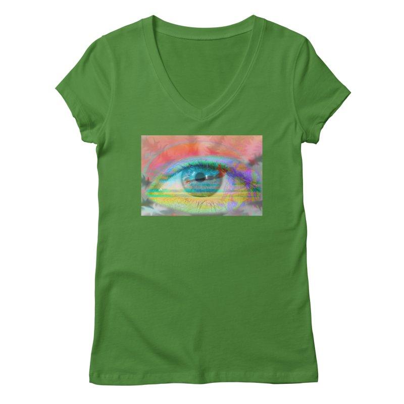 Twilight Eye: Part of the Eye Series Women's Regular V-Neck by InspiredPsychedelics's Artist Shop