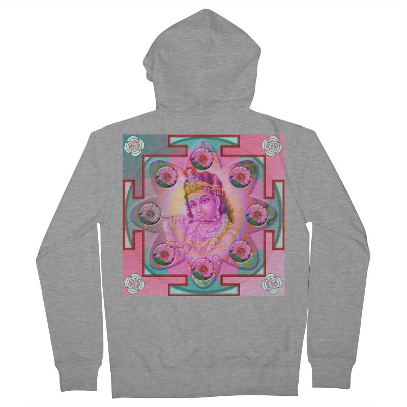 Krishna Mandala Men's French Terry Zip-Up Hoody by InspiredPsychedelics's Artist Shop