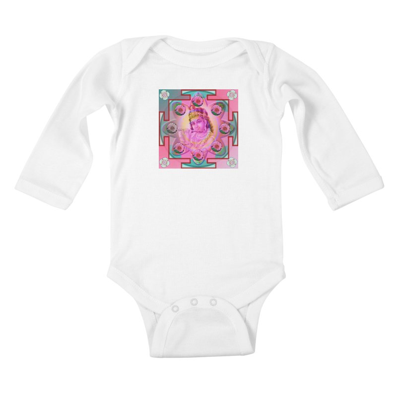 Krishna Mandala Kids Baby Longsleeve Bodysuit by InspiredPsychedelics's Artist Shop