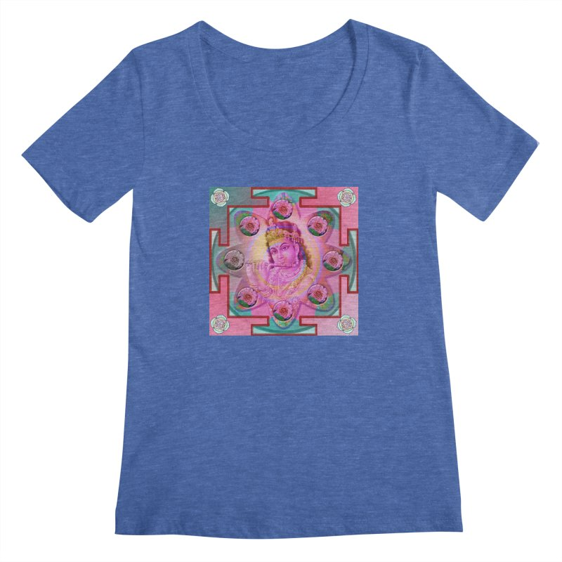 Krishna Mandala Women's Regular Scoop Neck by InspiredPsychedelics's Artist Shop