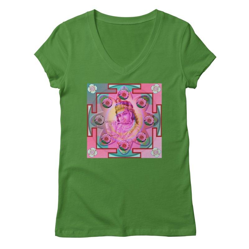 Krishna Mandala Women's V-Neck by InspiredPsychedelics's Artist Shop