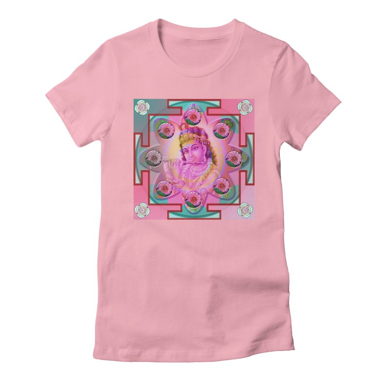 Krishna Mandala Women's Fitted T-Shirt by InspiredPsychedelics's Artist Shop