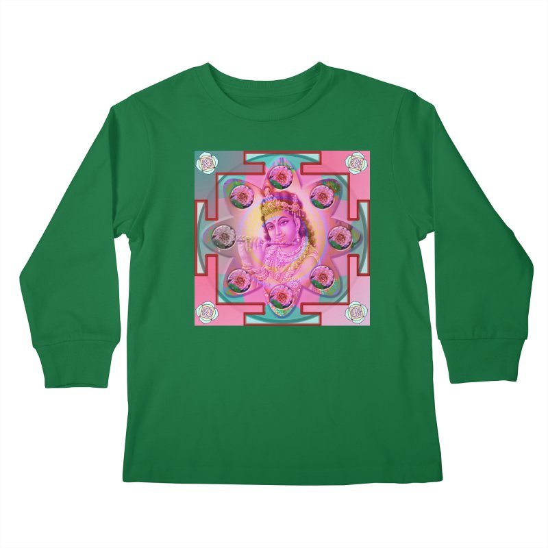 Krishna Mandala Kids Longsleeve T-Shirt by InspiredPsychedelics's Artist Shop