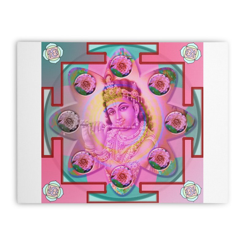 Krishna Mandala Home Stretched Canvas by InspiredPsychedelics's Artist Shop