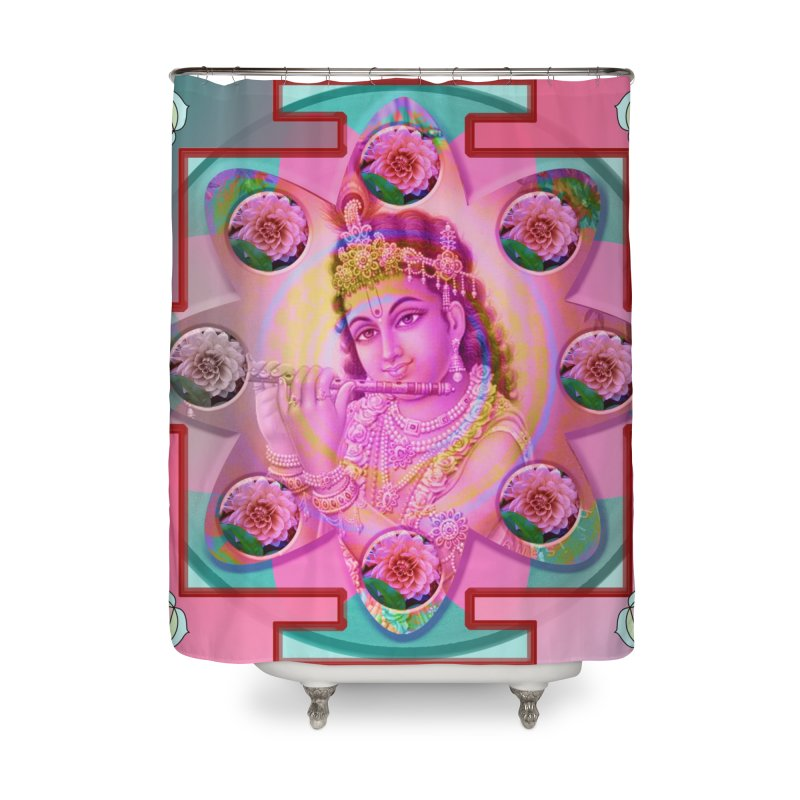 Krishna Mandala Home Shower Curtain by InspiredPsychedelics's Artist Shop