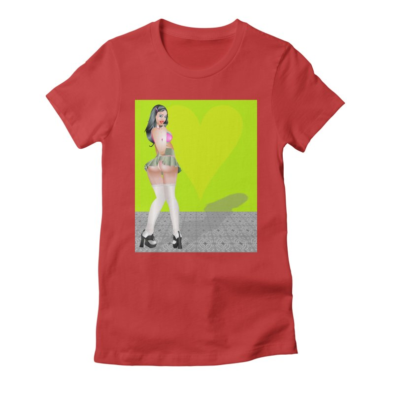 Stefanie Cane Pinup Women's Fitted T-Shirt by InspiredPsychedelics's Artist Shop