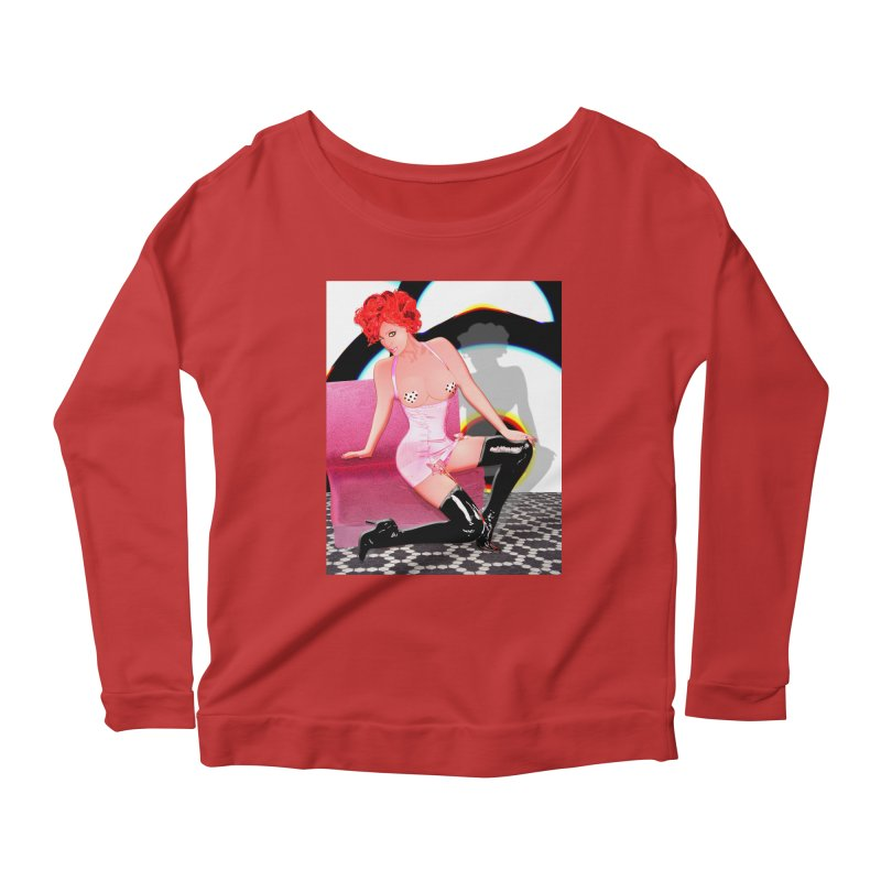 Redhead in Pink Latex and Black Boots Women's Longsleeve Scoopneck  by InspiredPsychedelics's Artist Shop