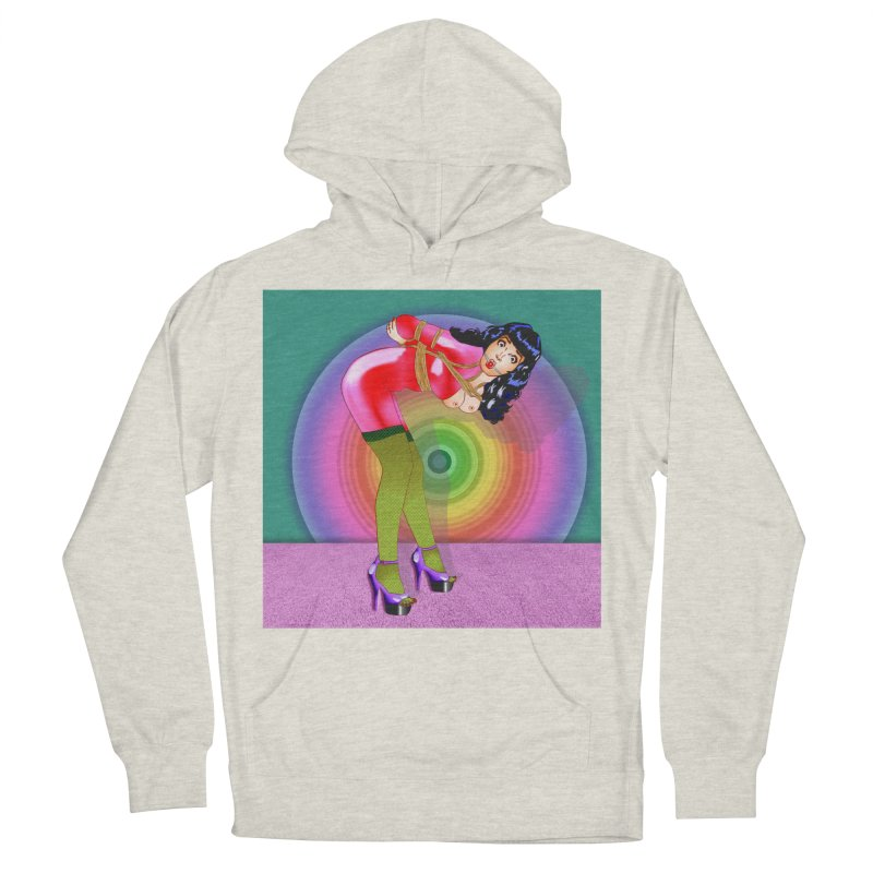 Bettie Page All Tied Up Pinup Women's French Terry Pullover Hoody by InspiredPsychedelics's Artist Shop