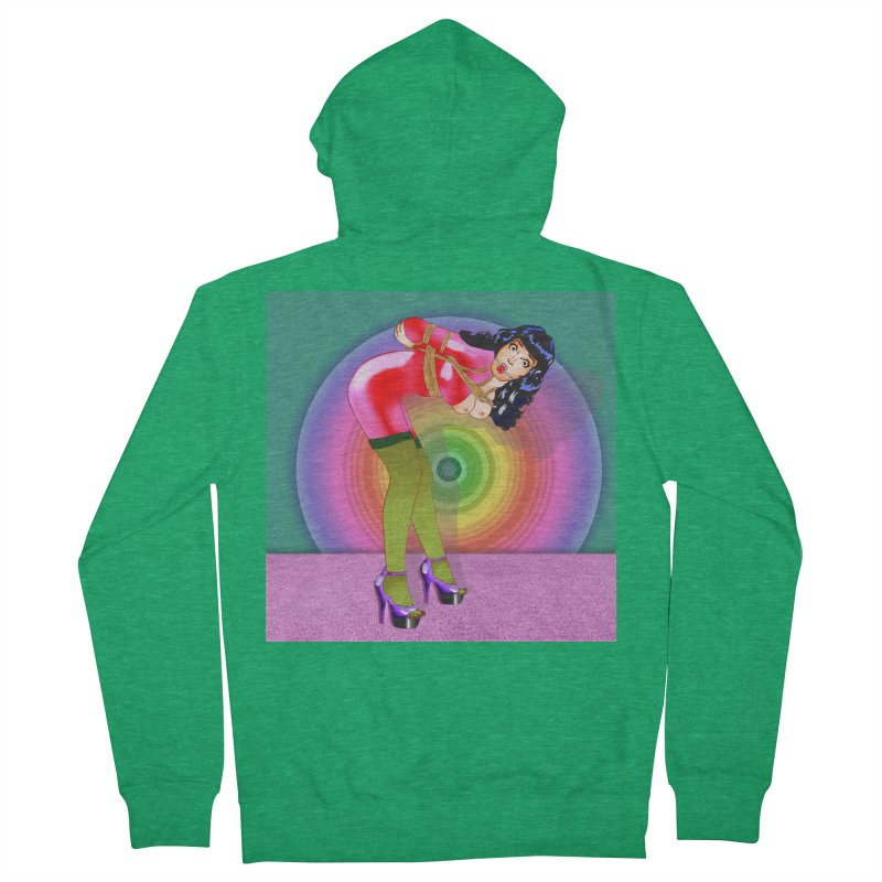 Bettie Page All Tied Up Pinup Women's Zip-Up Hoody by InspiredPsychedelics's Artist Shop